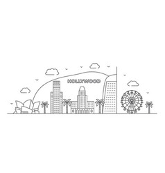 los angeles line drawing hollywood in vector image
