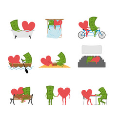 love and money set dollar and heart in movie vector image