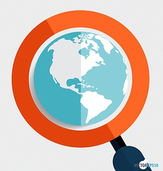 Magnifying glass and globe Business working vector