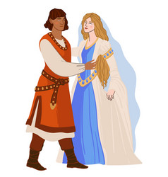 Man and woman in love romanesque couple vector