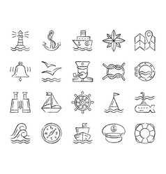 Marine charcoal draw line icons set vector