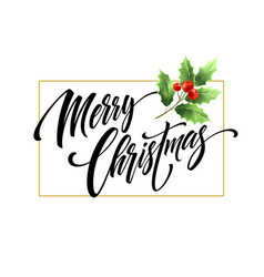 merry christmas hand drawn lettering with vector image