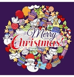 Merry christmas set of xmas colorful pattern and vector