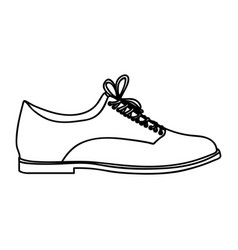 Monochrome silhouette of male leather shoe with vector