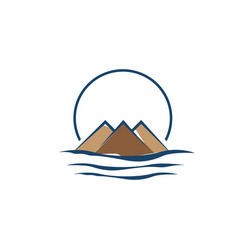 mountain logo with water wave element vector image