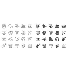 Music line icons set of acoustic guitar musical vector