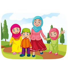Muslim mother with her child vector