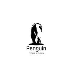 Penguin care silhouette vector