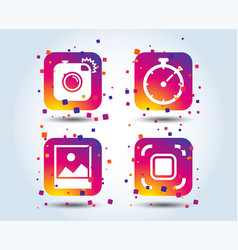 photo camera icon autofocus zone and landscape vector image