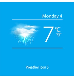 Realistic weather icon cloud with lightning vector image vector image