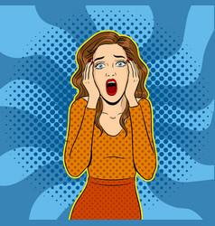 scream woman pop art vector image