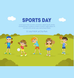 Sports day banner template sport activity vector