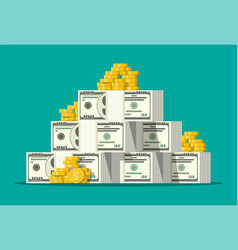 Stack of dollar banknotes and golden coins vector