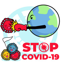 Stop corona virus in cartoon vector