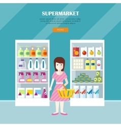 Supermarket concept web banner in flat design vector