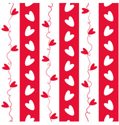 sweet red and white doodle hearts seamless vector image
