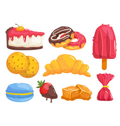 sweets and pastry tasty breakfast food desserts vector image