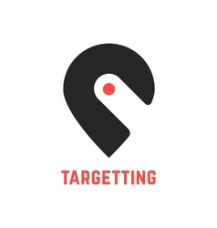 targetting sign with pin like hook vector image