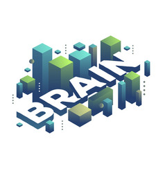 Three dimensional word brain with abstract green vector
