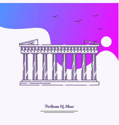 Travel parthenon of athens poster template purple vector