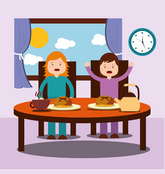 two children a girl and a boy enjoy their healthy vector image