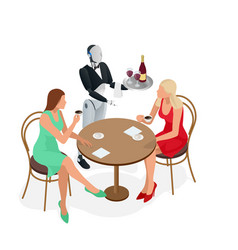 Two girls are sitting in a cafe robot waiter in vector