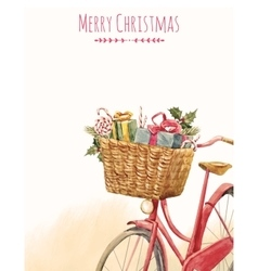 Watercolor bike with presents vector