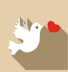 wedding dove icon flat style vector image