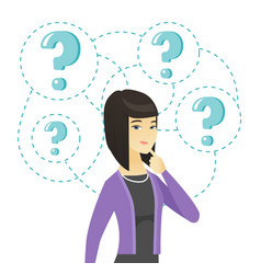 Young business woman standing under question marks vector