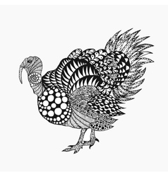 Zentangle stylized turkey vector image