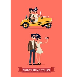 Fashionista couple doing some sightseeing vector