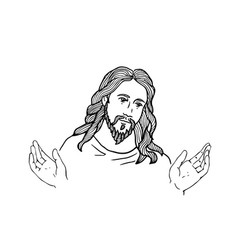 Graphical face of jesus face of jesus open hands vector
