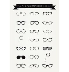 Hipster retro vintage glasses icon set vector