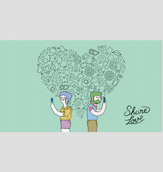 modern internet love couple concept vector image vector image