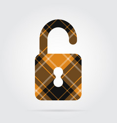 Orange black tartan isolated icon - open padlock vector
