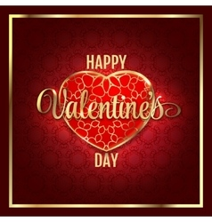 Valentines day abstract background with red gold vector image