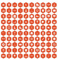 100 athlete icons hexagon orange vector