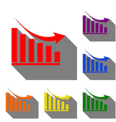 declining graph sign set of red orange yellow vector image vector image