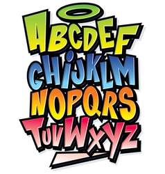Funky colorful cartoon font type alphabet vector image