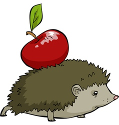 hedgehog with apple vector image vector image