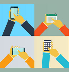 interaction hands using mobile apps vector image vector image