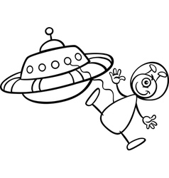 alien with ufo for coloring book vector image