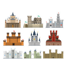 castles and fortresses icon set vector image vector image