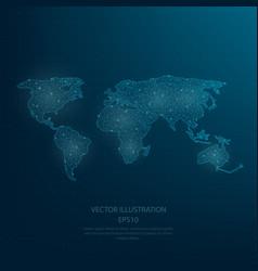 digitally drawn blue world map vector image