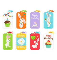 happy birthday cards and invitation tags vector image vector image