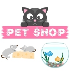 Pet shop emblem Banner with name of animal store vector image