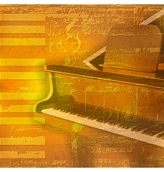 abstract yellow grunge background with grand piano vector image vector image
