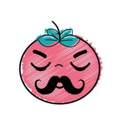 Kawaii nice sleeping tomato vegetable vector