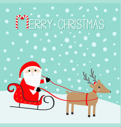 merry christmas santa claus sleigh deer with vector image