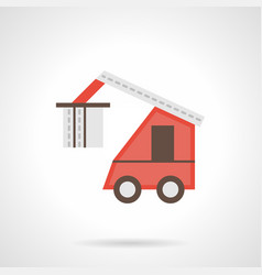 red loading truck flat color icon vector image